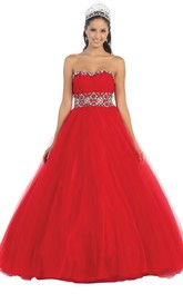 Strapless Waist Jeweler Jeweled Tulle Lace-Up-Back Ball Gown