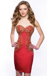 Sweetheart Form-Fitted Satin Short Homecoming Dress With Sequins