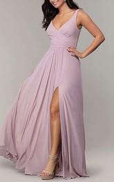 A Line Chiffon V-neck Floor-length Bridesmaid Dress With Split Front
