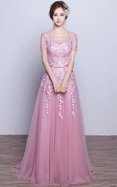 Long Appliqued A-Line Short-Sleeve Tulle Dress