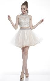 A-Line Jeweled Appliqued Short Mini Sleeveless High-Neck Dress