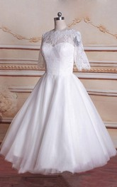 Tulle Satin Long-Sleeve Tea-Length Bridal Lace Dress