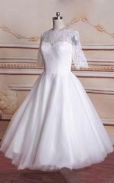 Tulle Satin Long-Sleeve Tea-Length Bridal Lace Dress