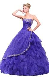 Strapless Appliqued Ruffles Ball Gown