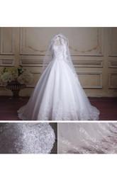 Chapel-Train Jewel Organza Ball-Gown Princess Satin Lace Dress