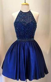 Taffeta Jeweled Bodice High-Neckline Halter Dress