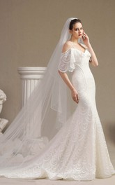 Off-the-shoulder Fancy Cute Lace Mermaid Wedding Dress With Straps And Half Sleeves