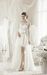 A-Line Knee-Length Square Long-Sleeve Lace Dress With Bow And Appliques