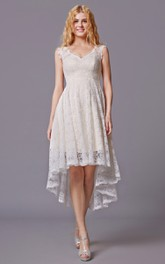 Lace V-Neckline High-Low Sleeveless Bridesmaid Dress