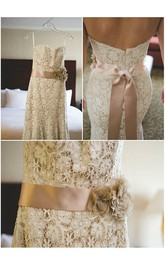 Lace Floral Satin Sash Backless Sweetheart-Neck Spaghetti-Strap Gown