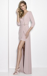 V-neck 3-4-sleeve Jersey Ruched Dress With Split Front