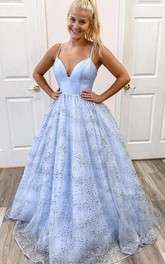 Spaghetti V-neck Tulle Sleeveless Floor-length A Line Evening Dress with Sequins