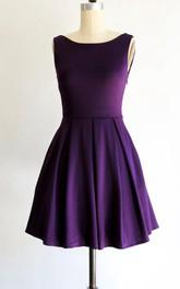 Bateau Sleeveless short A-line Dress With back bow