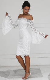 Pencil Off-the-shoulder Lace Knee-length Long Sleeve Zipper Wedding Dress