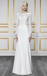 Bateau Illusion Long Sleeve Lace Wedding Dress With Deep-V Back
