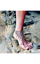 Exaggerated Carved Ancient Silver Exaggerated Flower Drips Fringed With Anklet 27Cm
