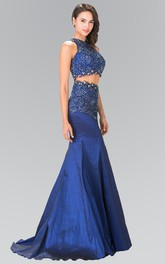 2-Piece Jeweled Appliqued Trumpet High-Neck Satin Sleeveless Illusion Dress