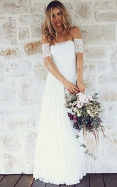 Off-the-shoulder Lace Cap Short Sleeve Wedding Dress