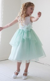Bowknot Layers 3-4-Length Floral Organza Flower Girl Dress