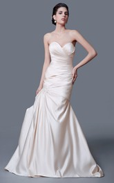 Backless Ruched Sweetheart Inspired Trumpet Taffeta Dress