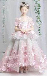 Floral Organza and Tulle Scoop Tier Ball Gown Flower Girl Dress