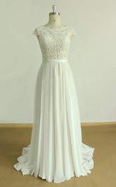 Cap-sleeve Pleated A-line Lace Chiffon Wedding Dress With Low-V Back