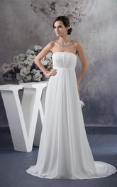 Empire Pleated Floor-Length Sleeveless Strapless Chiffon Dress