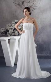 Empire Pleated Floor-Length Sleeveless Strapless Chiffon Dress