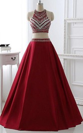 High Neck Satin Sleeveless Floor-length Beading Pleats Dress