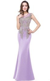 Sheath Scoop-neck Sleeveless formal Dress With Beading And Illusion