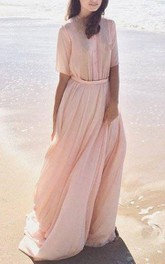 Jewel-Neck Half Sleeve Chiffon Floor-length Dress With Pleats