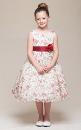 Chiffon Tiered 3-4-Length Satin Flower Girl Dress