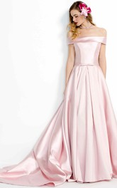 blushing Satin Off-the-shoulder A-line Dress With Court Train