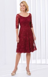 Lace Scoop-neck Half Sleeve short Dress With Zipper
