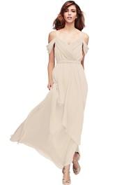 casual Spaghetti Chiffon Ruched Bridesmaid Dress