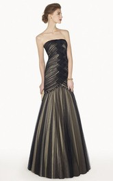 Strapless Ruched Trumpet Floor-length Dress With Beading