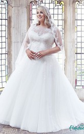 Bateau Cap-sleeve Tulle Ball Gown plus size Wedding Dress With Appliques And Court Train
