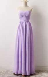 Sweetheart central-ruched Chiffon Floor-length Dress With Corset Back