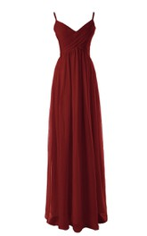 Long Basque Waist Empire Spaghetti-Strap Floor-Length Dress