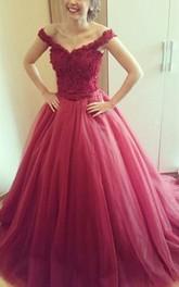 Princess Off-The-Shoulder Lace-Up Lace Delicate Dress