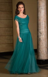 Cap-sleeve cowl-neck Tulle Mother of the Bride Dress With Beading