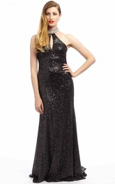 High Neck Sleeveless Sequined evening Dress With Sweep Train