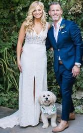 V-neck Lace Court Train Illusion Low-V Back Sheath Wedding Dress with Split Front