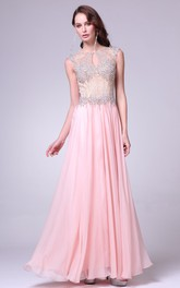 A-Line Pleated Beaded Jewel-Neck Sleeveless Keyhole Chiffon Dress