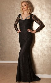 Long-Sleeve Lace Floor-Length Sheath Formal Jeweled Dress