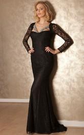 Long-Sleeve Lace Floor-Length Sheath Formal Jeweled Dress