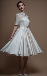 Half Sleeve Satin Knee-length Wedding Dress With Illusion top