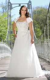 Cap Floral Floor-Length A-Line Sweep-Train Draping Gown