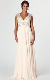 Plunged Sleeveless Empire Chiffon Dress With Crystal Detailing And Keyhole back