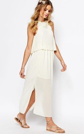 Tea-Length Pleated High Neck Sleeveless Chiffon Bridesmaid Dress With Split